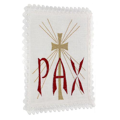 Servizio da altare lino scritta PAX rossa e croce dorata con raggi 3