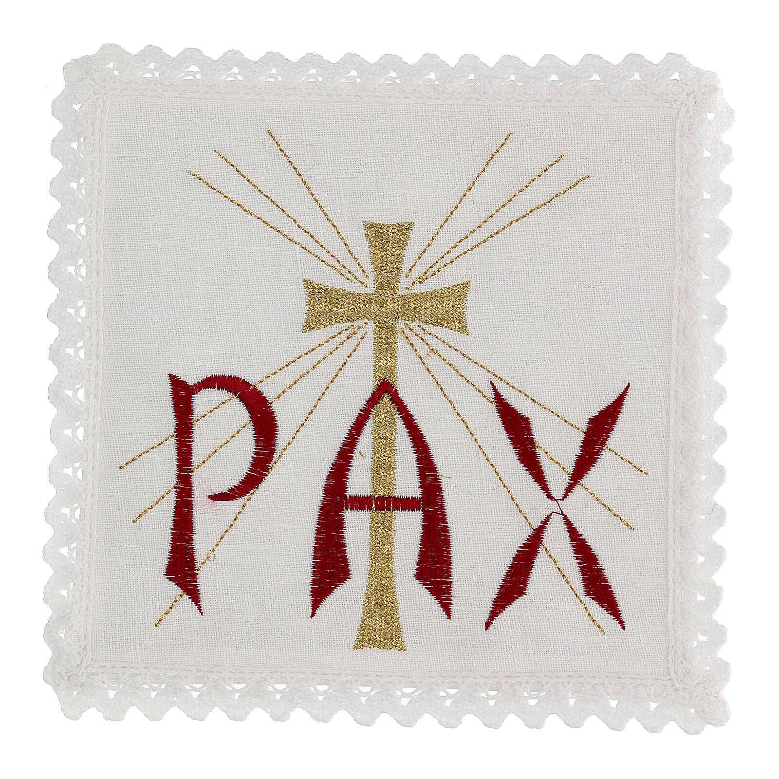 Altar linen red PAX and golden cross with rays 4