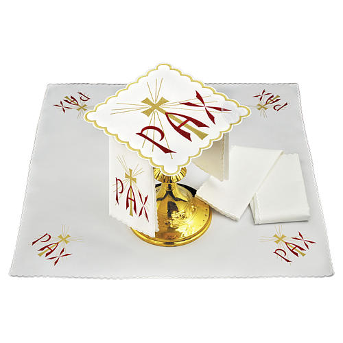 Altar linen red PAX and golden cross with rays 1