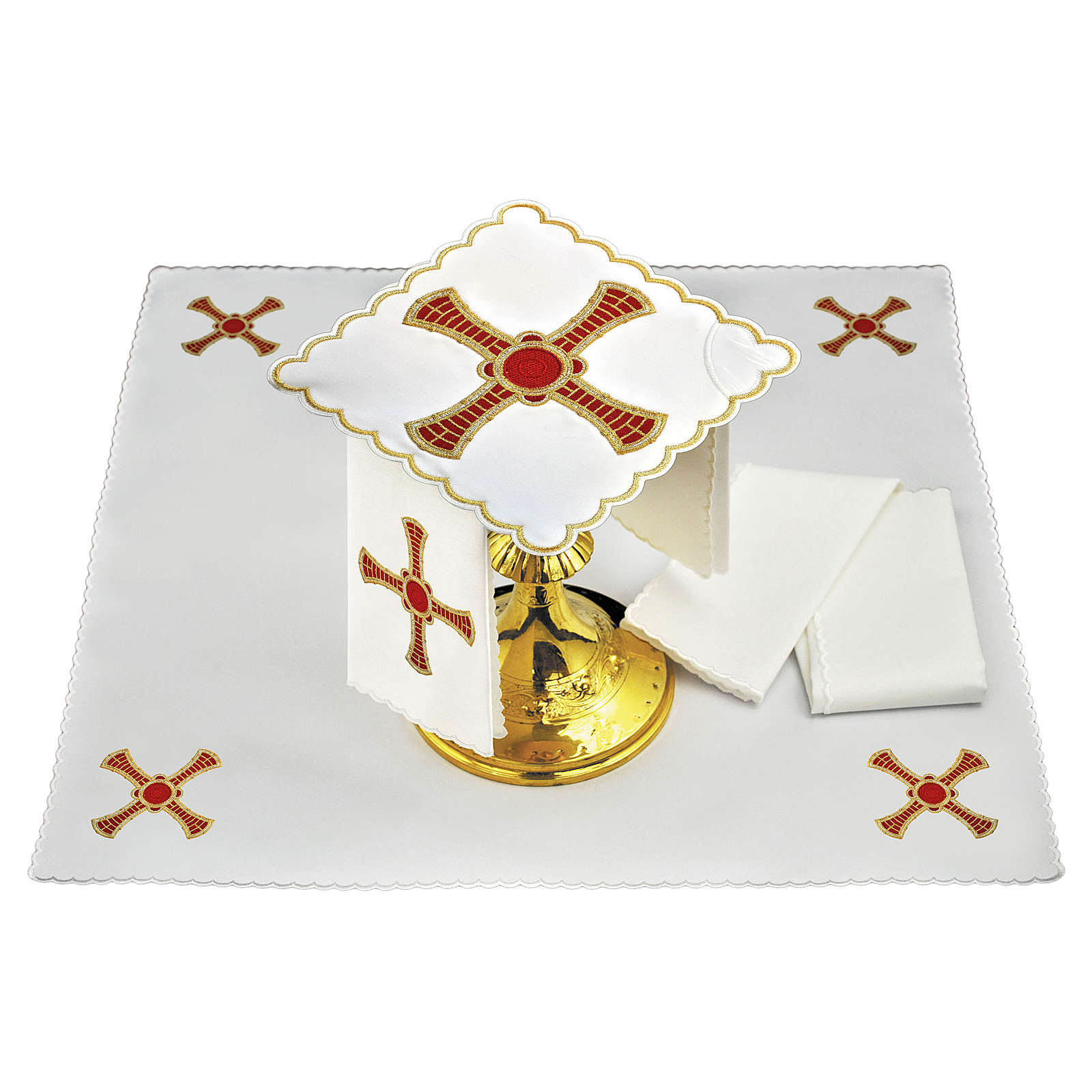 Servizio da altare lino croce rossa oro con righe 4
