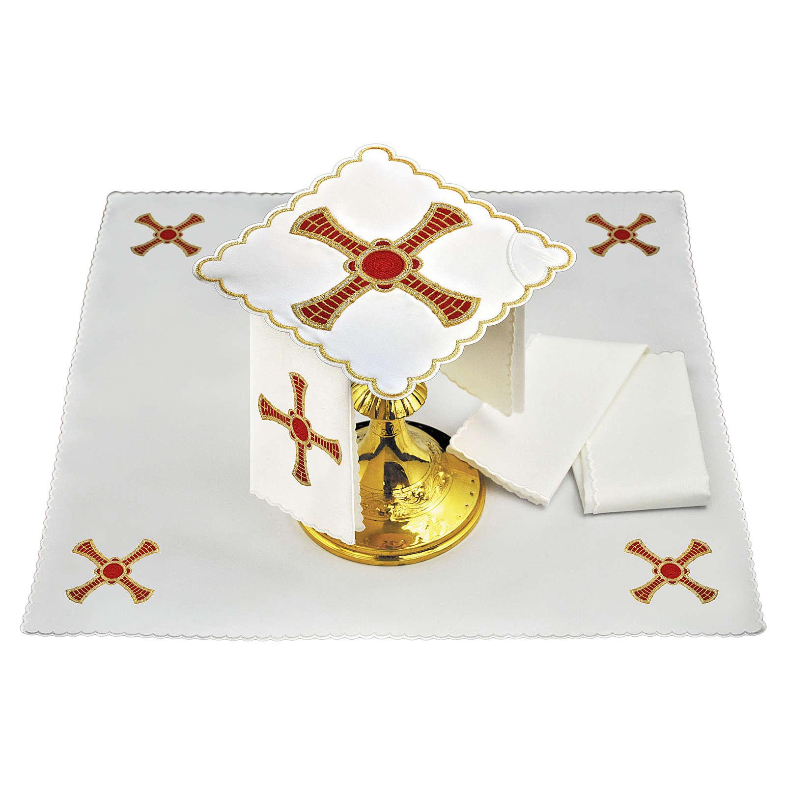 Conjunto alfaias linho cruz vermelha ouro com trigo 4