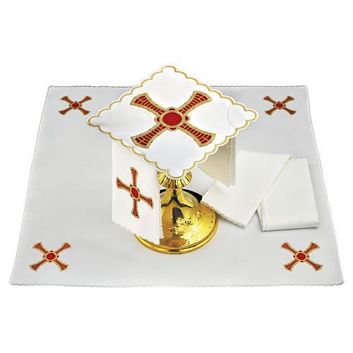 Conjunto alfaias linho cruz vermelha ouro com trigo 1