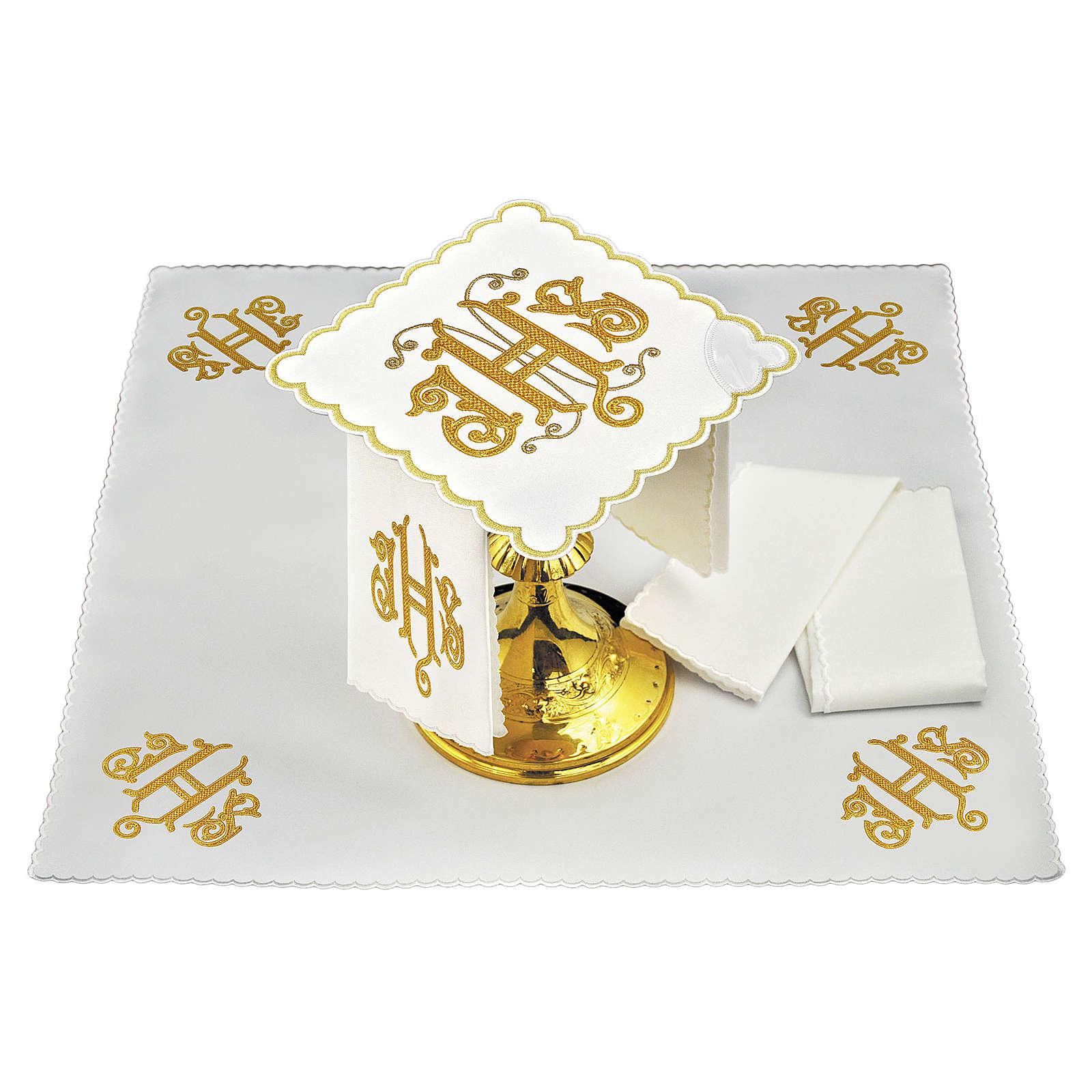 Altar linen JHS embroidery, gold embellished 4