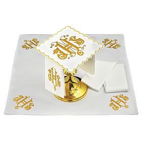 Altar linen JHS embroidery, gold embellished s1