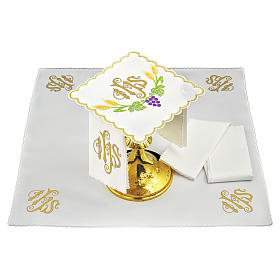 Altar linen JHS yellow spike and violet grapes s1