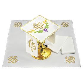 Servizio da altare lino JHS spighe gialle uva viola s1