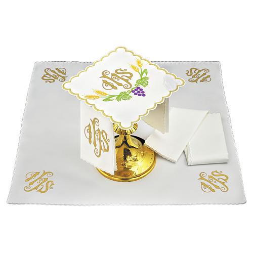 Servizio da altare lino JHS spighe gialle uva viola 1