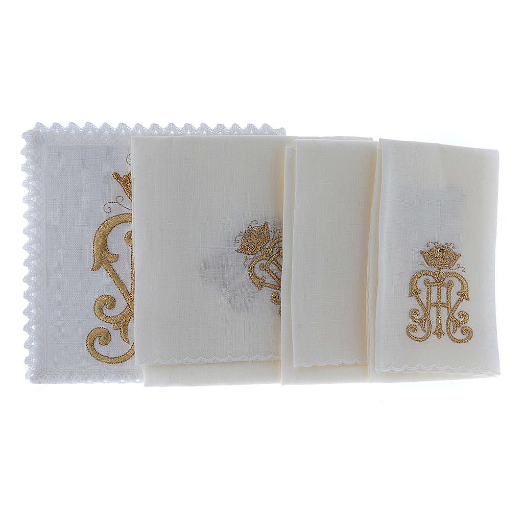 Servizio da altare lino simbolo JHS dorato con corona 4