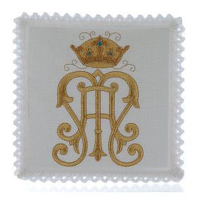 Servizio da altare lino simbolo JHS dorato con corona s1
