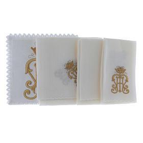 Servizio da altare lino simbolo JHS dorato con corona s2