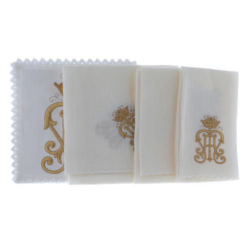 Servizio da altare lino simbolo JHS dorato con corona 2