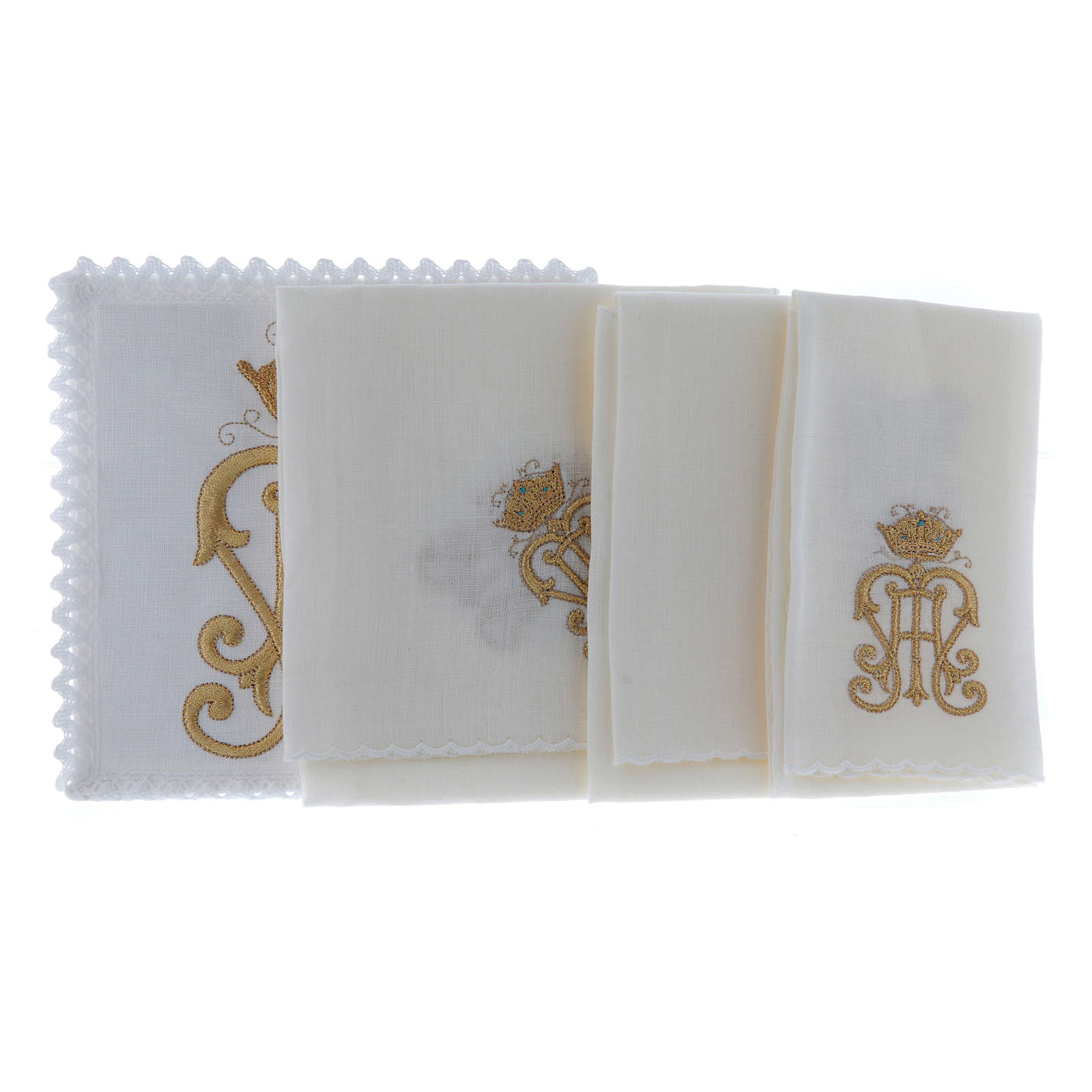 Altar cloth set gold JHS symbol with crown 4