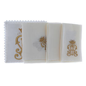 Altar cloth set gold JHS symbol with crown s2