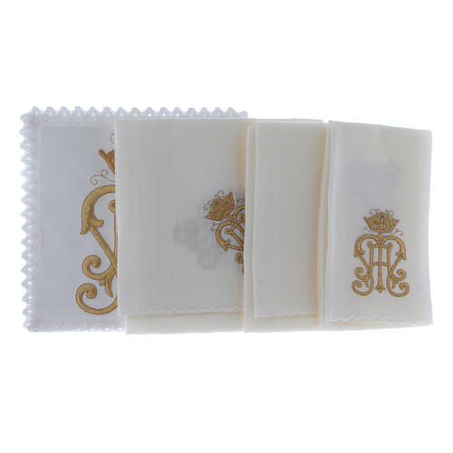 Altar cloth set gold JHS symbol with crown 2