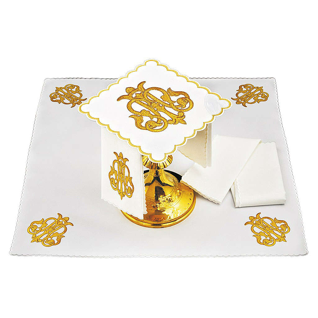 Servizio da altare lino simbolo JHS oro scuro ricamato 4