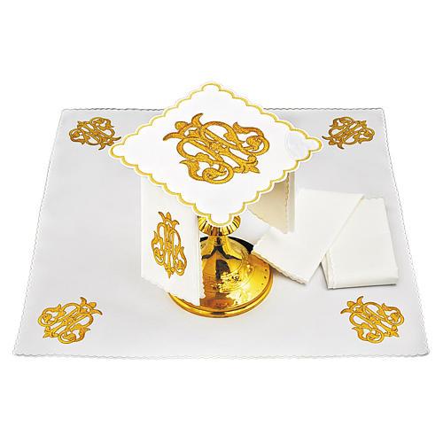 Servizio da altare lino simbolo JHS oro scuro ricamato 1