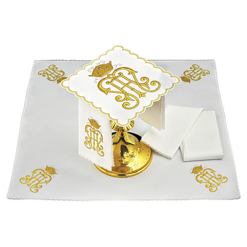 Altar cloth set candle rays Alpha & Omega, cotton 2