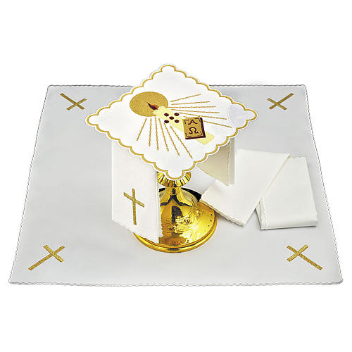 Altar cloth set candle rays Alpha & Omega, cotton 3
