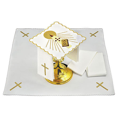Altar cloth set candle rays Alpha & Omega, cotton 1