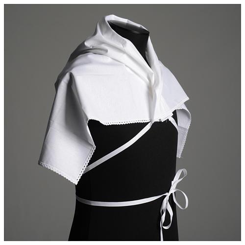 Amict blanc en pur coton avec broderie croix or 5