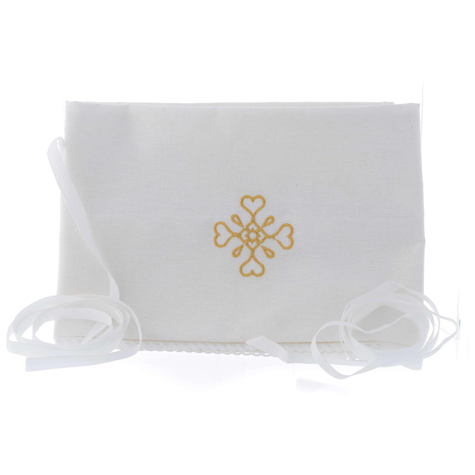 Amitto bianco in puro cotone con ricamo croce oro 4