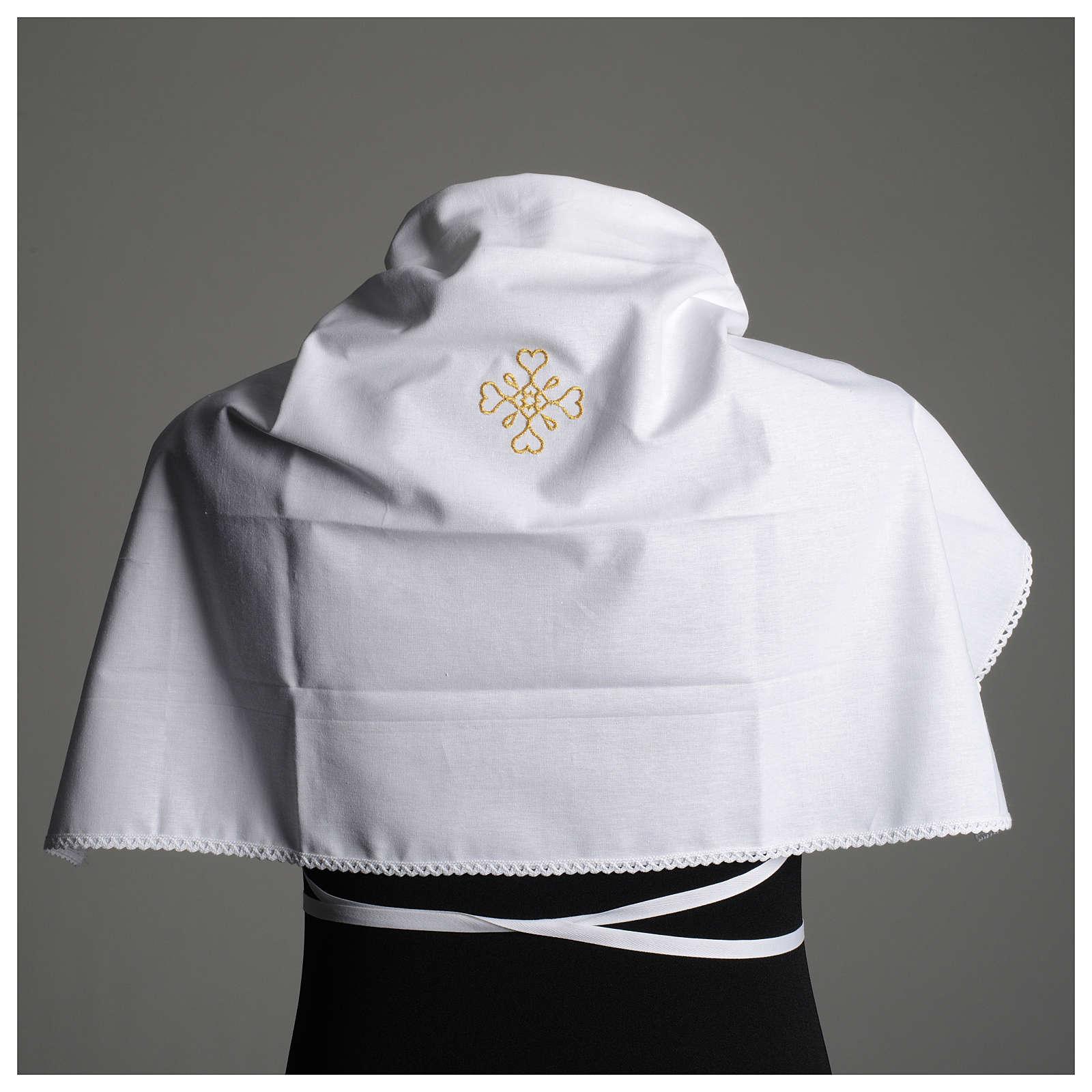 Humerał biały z czystej bawełny z haftem krzyża złoty kolor 4
