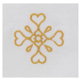 Humerał biały z czystej bawełny z haftem krzyża złoty kolor s2