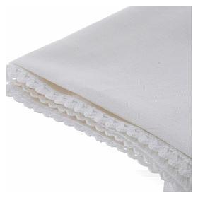 Humerał biały z czystej bawełny z haftem krzyża złoty kolor s3