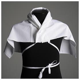 Humerał biały z czystej bawełny z haftem krzyża złoty kolor s4