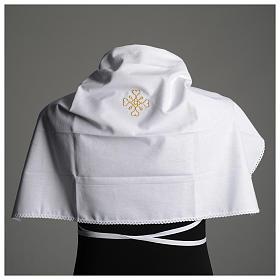 Humerał biały z czystej bawełny z haftem krzyża złoty kolor s6