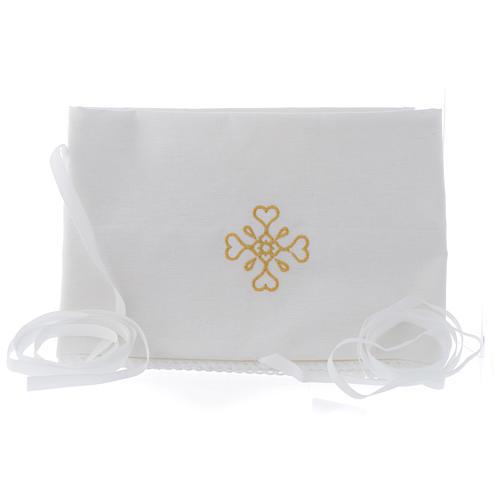 Humerał biały z czystej bawełny z haftem krzyża złoty kolor 1
