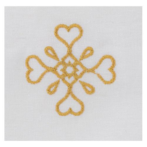 Humerał biały z czystej bawełny z haftem krzyża złoty kolor 2