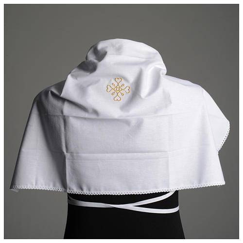 Humerał biały z czystej bawełny z haftem krzyża złoty kolor 6
