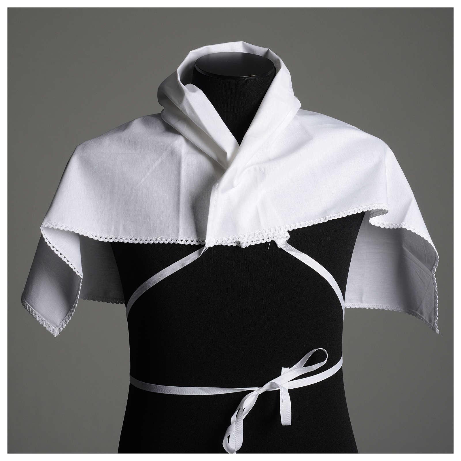 Amito branco em algodão puro com bordado cruz ouro 4