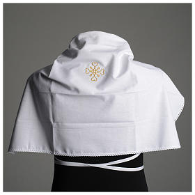 White amice in pure cotton with gold cross embroidery s6