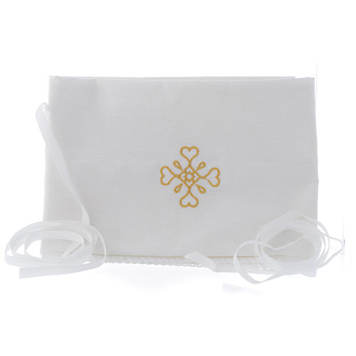 White amice in pure cotton with gold cross embroidery 1