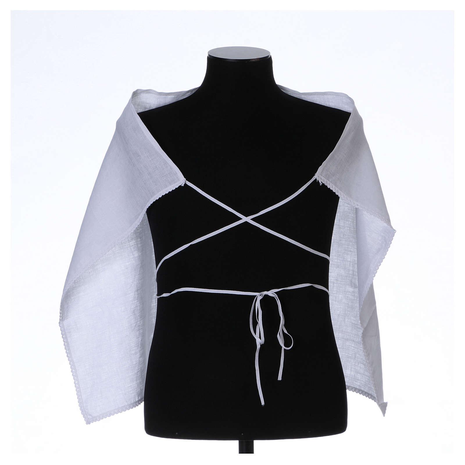 Amict blanc pur lin avec broderie croix IHS blanche 4