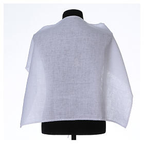 Amict blanc pur lin avec broderie croix IHS blanche s1