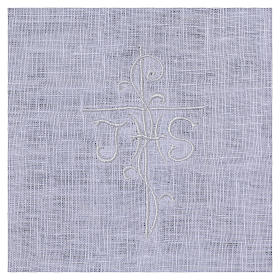 Amict blanc pur lin avec broderie croix IHS blanche s2