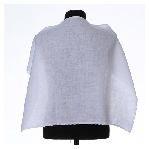 Amict blanc pur lin avec broderie croix IHS blanche 1