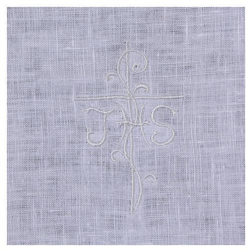 Amict blanc pur lin avec broderie croix IHS blanche 2