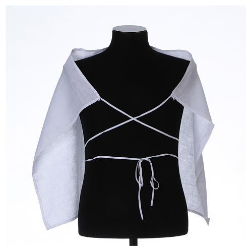 Amict blanc pur lin avec broderie croix IHS blanche 3