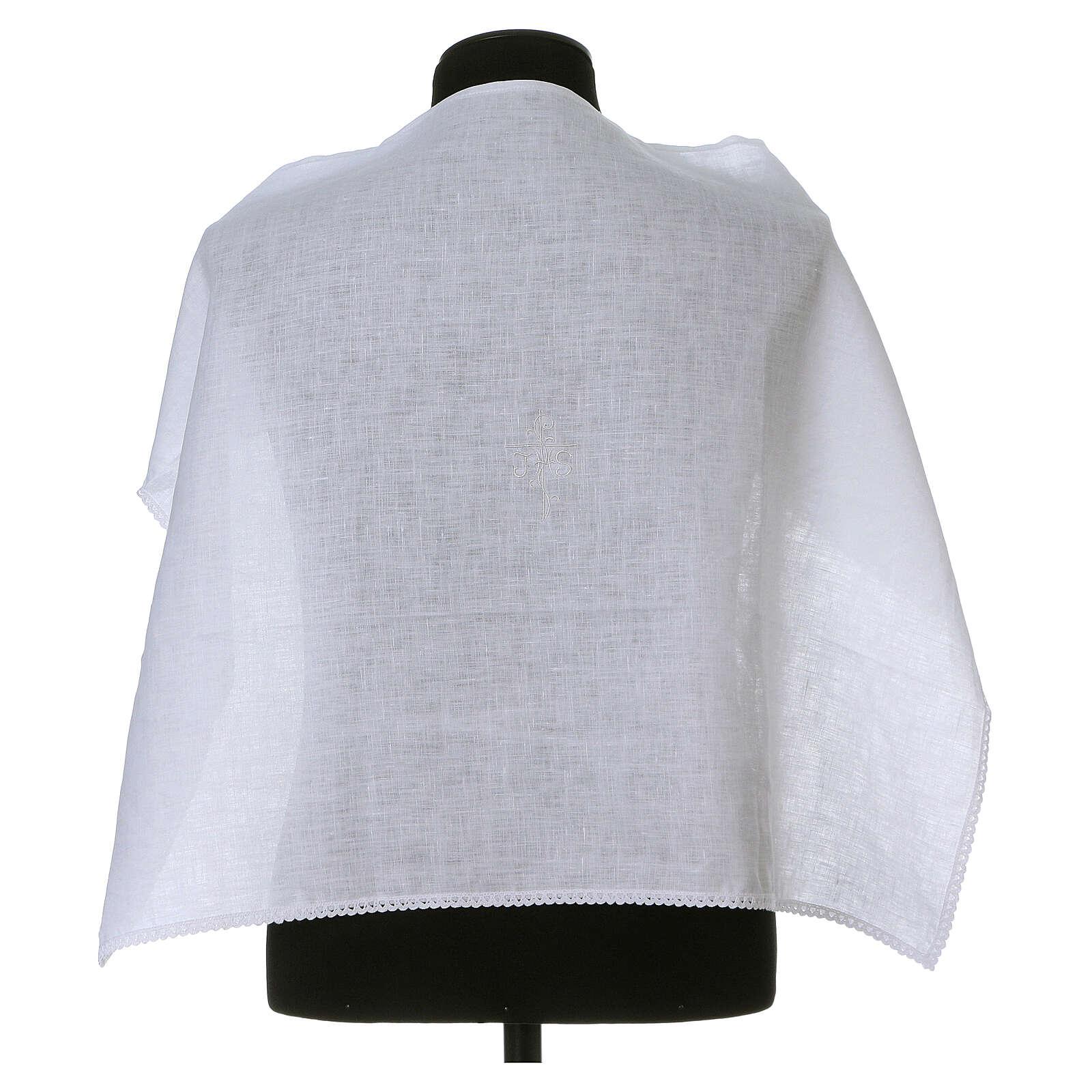Amitto bianco puro lino con ricamo croce JHS bianco 4