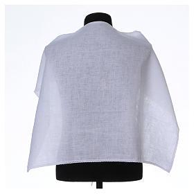 Camici: Amitto bianco puro lino con ricamo croce JHS bianco