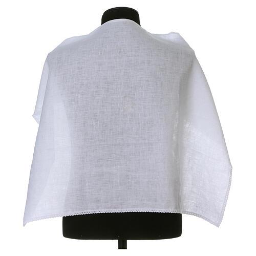 Amitto bianco puro lino con ricamo croce JHS bianco 1