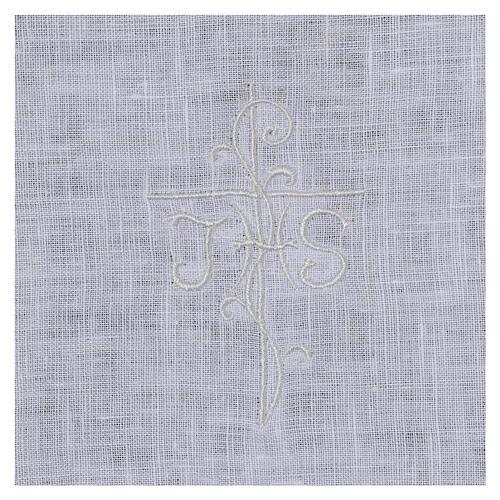 Amitto bianco puro lino con ricamo croce JHS bianco 2