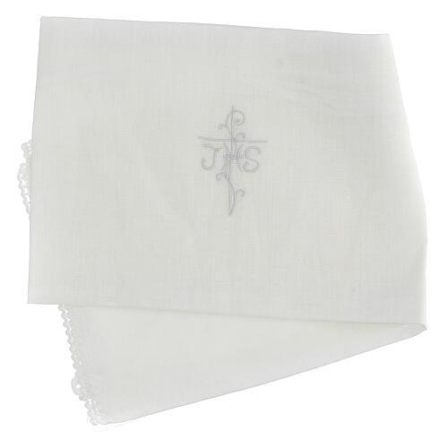Amitto bianco puro lino con ricamo croce JHS bianco 3