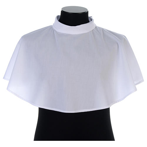 White amice in cotton mix with zip on shoulder 1