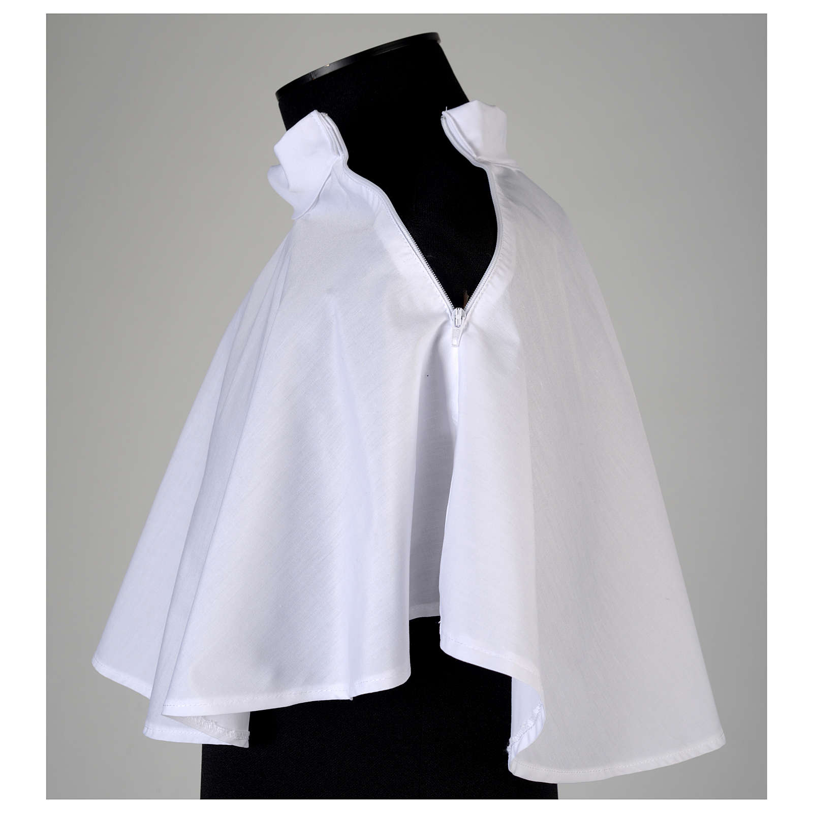 White amice in cotton blend with zip on shoulder 4