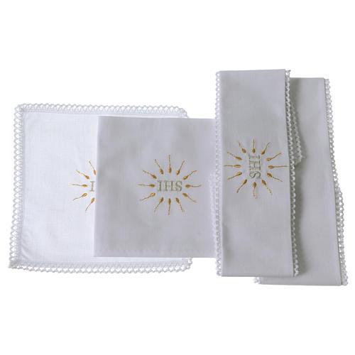 Linge d'autel IHS en pur coton 2